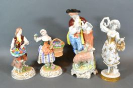 A German Porcelain Figure 'The Flower Seller' together with three other similar figures