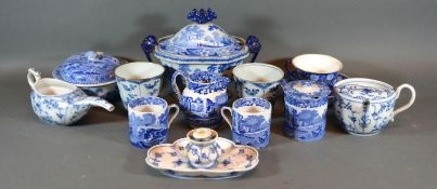 An Early 19th Century Underglaze Blue Decorated Covered Tureen together with a small collection of