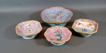 A 19th Century Chinese Pedestal Dish decorated in polychrome enamels together with three similar