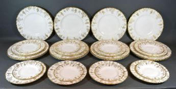 A Set of Twelve Royal Crown Derby Vine Pattern Dinner Plates together with twelve smaller plates and