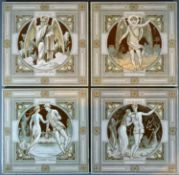 A Group of Four Moyr Smith Minton Tiles titled Winter Svllen and Sad, Winter on Sovnding Skates,