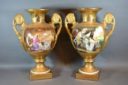 A Pair of Paris Porcelain Style Two Handled Vases each hand painted with figures within an