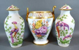A Pair of Porcelain Covered Vases in the style of Chelsea together with a continental porcelain