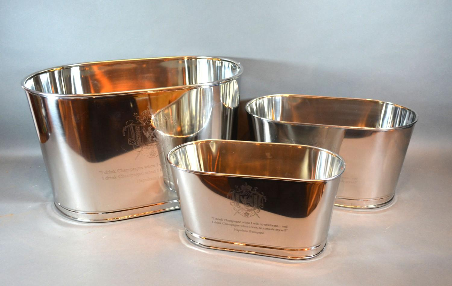 A Graduated Set of Three Champagne Coolers all inscribed Bollinger