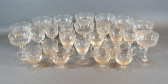 A Set of Ten Cut Glass Champagne Glasses together with a collection of other glassware