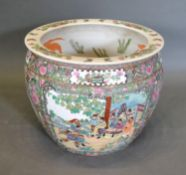 A Chinese Porcelain Fish Bowl decorated in polychrome enamels 37cm diameter