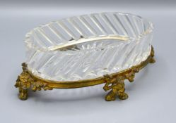 A Baccarat Cut Glass and Ormolu Mounted Dish of Oval Form raised upon low shaped feet decorated with