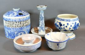 A Chinese Underglaze Blue Decorated Incense Burner together with four other similar items of Chinese