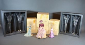 Three Coalport Figurines together with two pairs of Waterford Crystal glasses within original boxes
