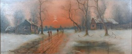 Niels Hans Christiansen, A Winter Landscape with Figures on a Track before Buildings with Sun