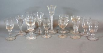 A Cordial Glass with Opaque Twist Stem together with a small collection of 19th Century glassware