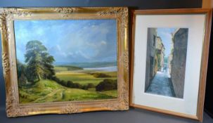 J Lawrence-Baker, Solway Firth, oil on canvas, signed, 49 x 59 cms together with a watercolour by