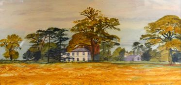 Jeffrey Elliot Knowles Tooth, November 1972, Manor House within a Landscape watercolour signed, 19cm