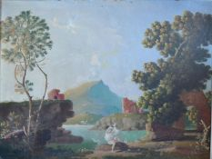 Attributed to Albert H Lucas, Lake Scene with Figure before Ruins, oil on board, signed, 76cm x 88cm