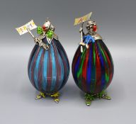 A Pair of Silver Mounted Morano Glass Clowns 'Salt and Pepper' with enamel decorated silver heads