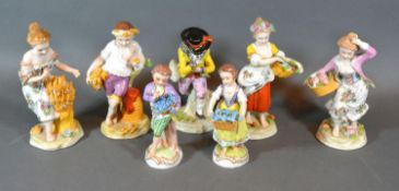 A Group of Five German Porcelain Figures together with a similar smaller pair of German porcelain