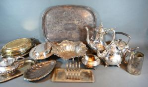A Silver Plated and Engraved Decorated Tray together with a small collection of other silver plate
