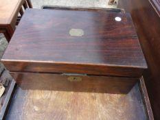 An Antique Brass inlaid Oak Writing Box