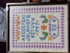 """Sampler with the 'Alphabet' framed 8"""" x 12"""" - good condition."""