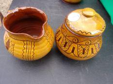 Barefoot Somerset Pottery Milk Jug and Sugar Bowl (Wells impressed)