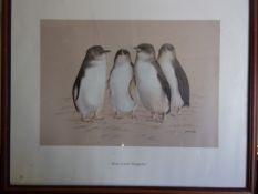 "Australia - Cain, Kathleen ""Four Little Penguins"" Print from the Pastel 340mm x 240mm. Delightful"