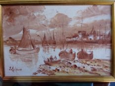 """An oil painting of a fishing harbour, probably Devon or Dorset 14"""" x 12"""""""