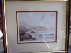 Rouse, C.T., print of a watercolour, Sea view probably Devon or Dorset. Limited edition.