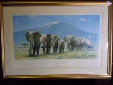 Berryman, Ivan - 'Exodus' Elephants in File, Fine gilt framed Limited Edition Colour Print signed