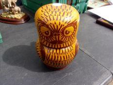 A Barefoot Somerset Pottery Jug & Owl matching beaker, stamped 'Wells'