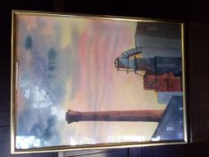 """Burgess, Peter Foss Islands, Yaris, Incinerator and Chimney Pastel Picture 10"""" x 15"""""""