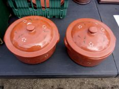 Barefoot Somerset - A pair of Decorative Bowls with Lids