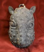 Benin bronze 17th century leopard mask, the Leopard is the cosmological symbol of Royal Power, it is