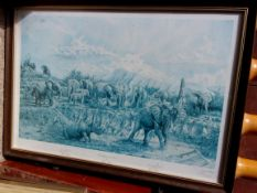 Thorp, Nigel - The Orphans of Tzavo fine Limited Edition Signed print, with named Elephants and