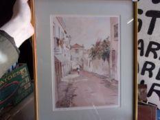 Amako, Julia - Algarve, two attractive framed prints of Watercolour Lagos and Faro both Artist