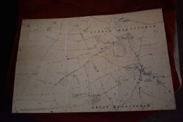 Norfolk Map:- Great and Little Massingham Shooting, vintage linen backed Map (HMSO) viewed with