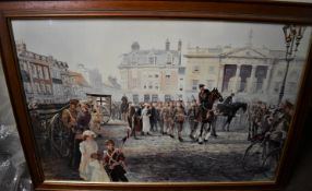 Impressive Print - 8th Battalion Sherwood Foresters 1914, Newark Market Place, framed (wood)-Picture