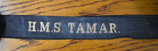 H.M.S. TAMAR British Naval Cap Tally :- (Chinese: ???) was the name for the British Royal Navy's