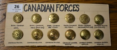 Canadian Forces Military Buttons (12) including: Royal Canadian Navy, Air Force, Militia, General