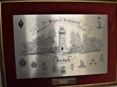7th Signals Regiment Herford Framed Presentation placard, presented by WO's & Sgts Mess 7th Signal