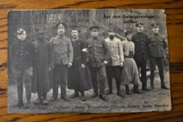 "German WWI RP Postcard of Allied Prisoners of War lined up and categorised by Nation. ""Aus den"