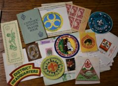 Scouting. Good assortment of unit badges, stickers, covers, and a Catholic scouts prayer book etc.