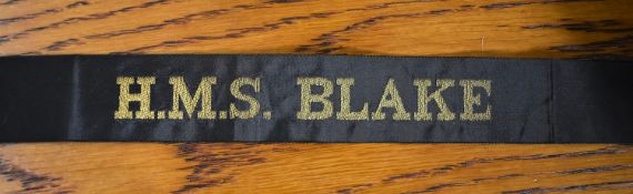 Post WWII H.M.S. BLAKE British Naval Cap Tally:- H.M.S. Blake was a light cruiser of the Tiger class
