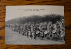 French WWI RP Postcard of a French Regiment Marching to the Front at Verdun with the Musical