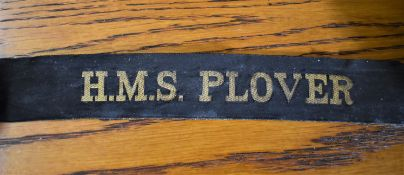 H.M.S. PLOVER WWII Naval Cap Tally:- HMS Plover was a coastal minelayer built for the Royal Navy