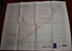 Scotland 'Helmsdale' War Office Edition, sheet 17 -Ordnance survey map, published 1949. Folded