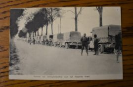 French RP Postcard of French Supply Transport on the Way to the Front, miles of trucks moving up