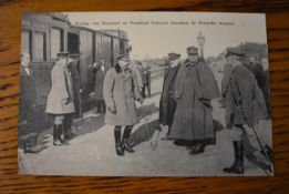 French WWI RP Postcard of the King of England inspecting the Front French President Poincare and