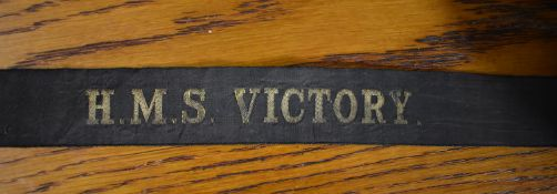 H.M.S. Victory British Naval Cap Tally, early 20th century cap tally as worn on the H.M.S. Victory