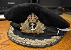 British WWII Royal Navy Senior Officers Peaked Cap, made by Gieves with bullion wire RN Officer
