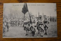 French WWI RP Postcard of Soldiers on Parade depicting the Regimental Colours, a fantastic RP